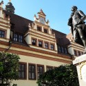 Leipzig market place and statue