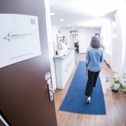 Person entering a corridor