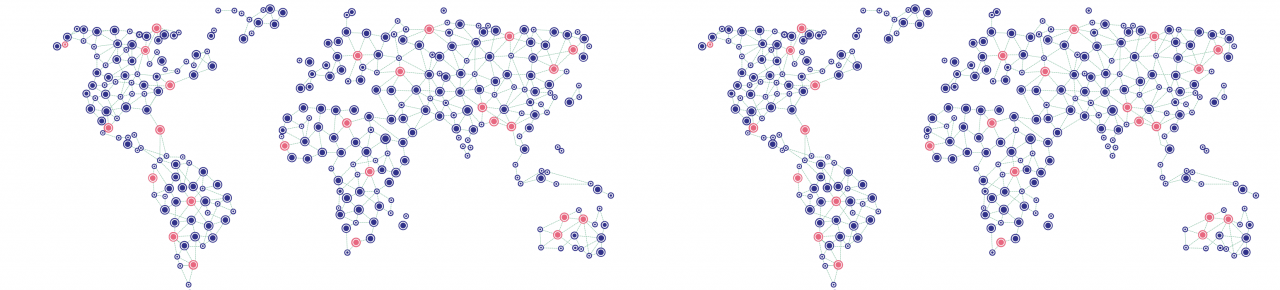 Schematic representation of world map with bubbles and connecting lines